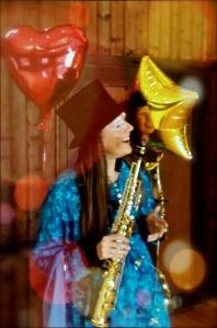 Clownin LOTTE Traum Zeremonie mit Saxophon